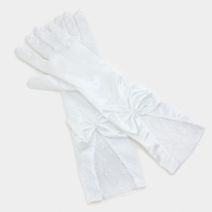 Accessories - Bridal wedding bow detail satin lace gloves